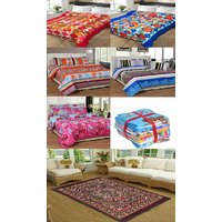Big Home Furnishing Combo (3 Double Bedsheets, 1 carpet, 2 double bed blankets, 5 Face Towels) K Decor