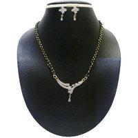 Zaveri Pearls Sparkling Diamond Mangalsutra For Women-ZPFK498