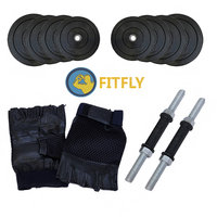 Fitfly 16 Kg Adjustable Dumbbell sets with Gym Gloves