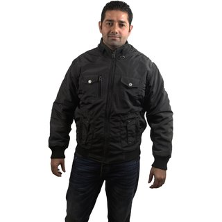Super Human Men Black Jacket with fur lining