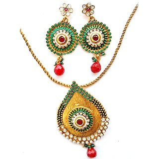 Maayra Golden Green Party Ethnic Pendant Set