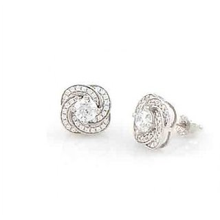 925 Sterling Silver , Micro Setting, Studded With Cubic Zirconia Earrings
