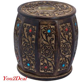 Wooden Handicraft Barrel Shape Antique Style Money Bank Gift Item LargeWHMB00009