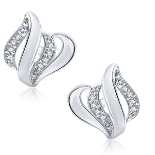 Meenaz Floral Brilliance Rhodium Plated Stud Earrings T149