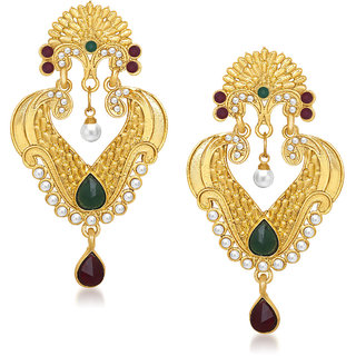 Meenaz Finley Crafted Designer Gold Plated Kundan Earring T189
