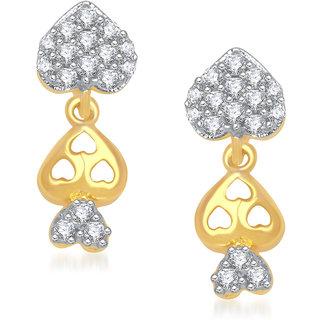 Meenaz Triple Heart Stud Cz Gold & Rhodium Plated Earring T191