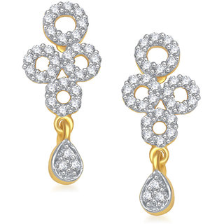 Meenaz Circle Diamond Cz Gold & Rhodium Plated Earring T192
