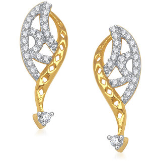 Meenaz Delicate Swril Cz Gold & Rhodium Plated Earring T193