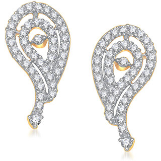 Meenaz Crystal Crush Cz Gold & Rhodium Plated Earring T202