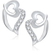 Meenaz Love Heart Design Rhodium Plated Cz Earring T278