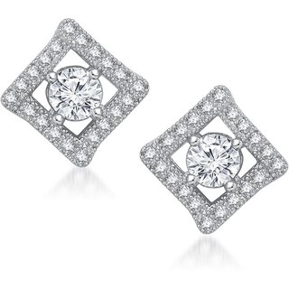 Meenaz Princess Cut Cz Rhodium Plated Earring T212