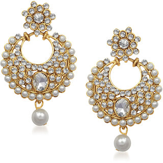 Meenaz Exclusive Pearl Jhumki Gold Plated Cz Earings T213