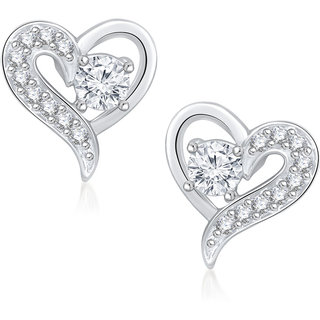 Meenaz Lovely Stud Cz Rhodium Plated Earring T222
