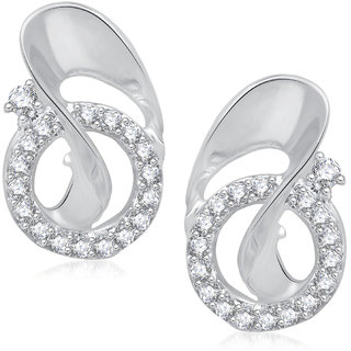 Meenaz Forever Shine Rhodium Plated Cz Earring T254