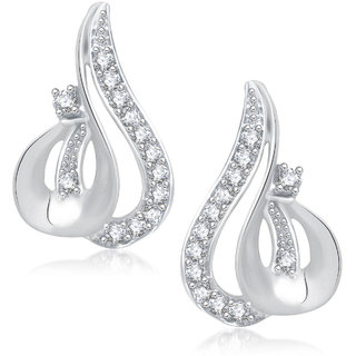 Meenaz Beauty Design Rhodium Plated Cz Earring T256