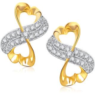 Meenaz Designer Gold & Rhodium Plated Cz Earring T273