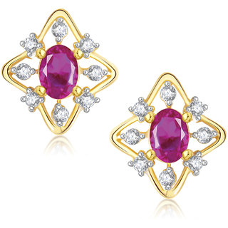 Meenaz Pretty Flower Shape Gold & Rhodium Plated Cz Earring T283