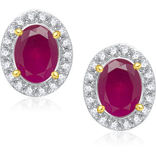 Meenaz Oval Colouring Stone Gold & Rhodium Plated Cz Earring T284