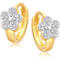 Meenaz Flower Micro Pave Gold & Rhodium Plated Cz Earring B120