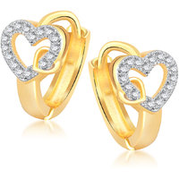 Meenaz Valentine Love Micro Pave Gold & Rhodium Plated Cz Earring B123