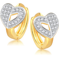 Meenaz Heart Gold & Rhodium Plated Cz Earring B128