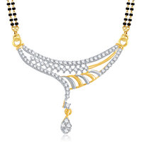 Meenaz Classic Gold And Rhodium Plated Cz Mangalsutra Pendant Msp742