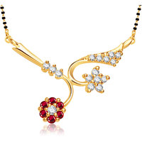 Meenaz Desent White & Ruby Gold And Rhodium Plated Cz Mangalsutra Pendant Msp750