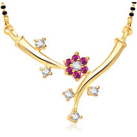 Meenaz Exclusive Flower Gold And Rhodium Plated Cz Mangalsutra Pendant Msp751