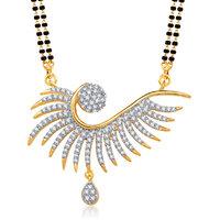 Meenaz Mayur Cz Gold And Rhodium Plated Mangalsutra Pendant 767