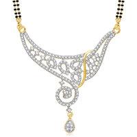 Meenaz Queen Cz Gold & Rhodium Plated Mangalsutra Pendant 774