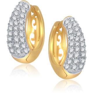 Meenaz Delight Basket Shape Gold & Rhodium Plated Cz Earrings B110
