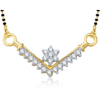 Meenaz Sacred Love Gold And Rhodium Plated Cz Mangalsutra Pendant Msp754