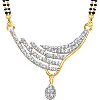 Meenaz Briliant Classy Cz Gold & Rhodium Plated Mangalsutra Pendant 780