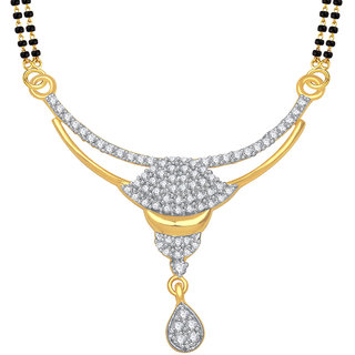 Meenaz Dalicate Flower Cz Gold & Rhodium Plated Mangalsutra Pendant 781