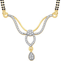 Meenaz Facinating Cz Gold & Rhodium Plated Mangalsutra Pendent 791