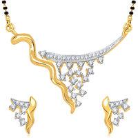 Meenaz Pretty Cz Gold And Rhodium Plated Mangalsutra Set
