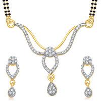 Meenaz Beautyfull Cz Gold And Rhoadium Plated Mangalutra Set