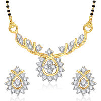 Meenaz Cute Radiance Cz Gold & Rhodium Plated Cz Mangalsutra Set