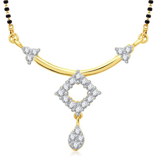 Meenaz Slender Cz Gold & Rhodium Plated Mangalsutra Pendant 803