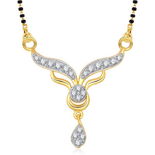 Meenaz Exclusive Tanmaniya Cz Gold & Rhodium Plated Mangalsutra Pendant 813
