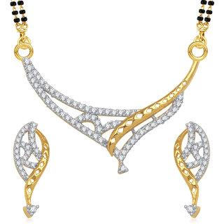 Meenaz Janvi Cz Gold And Rhodium Plated Mangalsutra Set