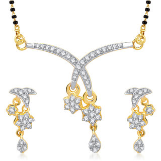 Meenaz Designer Flower Cz Gold And Rhodium Plated Mangalsutra Set