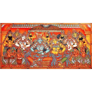 Kerala mural painting rama sita pattabhishekam buy for Cost of mural painting