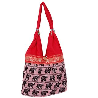Fashion Bizz Pink Handicraft Jhola Bag