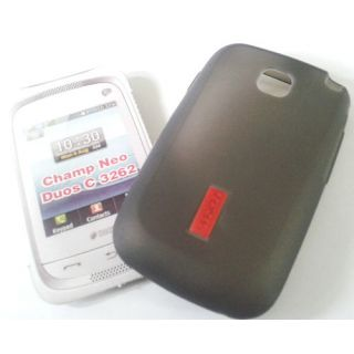 Samsung Champ Neo Duos C3262 2 Grey Silicone Back Cover Carry Case For