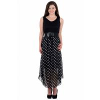Westchic Black Dotted A Line Dress For Women