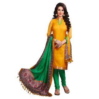 Ethnic Basket Amazing Yellow Designer Unstitched Dress Material EBSK134013006