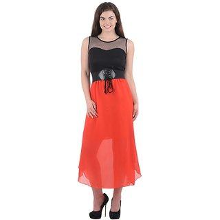 Westchic Black Orange Plain Long Dress