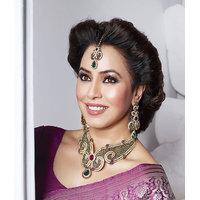 Kriaa Mithya Attractive Purple & Green Necklace Set with Maang Tikka