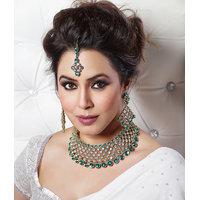 Kriaa Mithya Green Coker Necklace Set with Maang Tikka